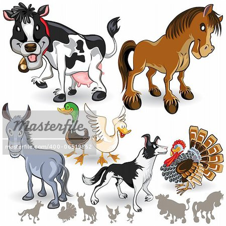 An Illustration of Farm Animals Collection Set.  Useful As Icon, Illustration And Background For Farming  Theme. Stock Photo - Budget Royalty-Free, Image code: 400-06519862