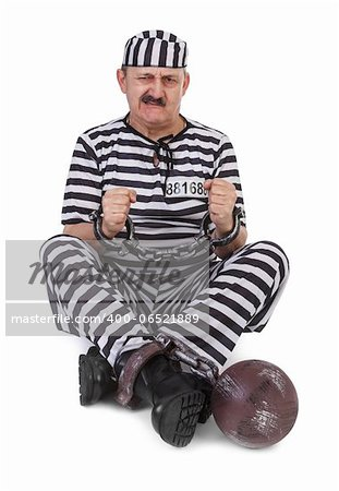 prisoner is struggling with handcuffs over white background Stock Photo - Budget Royalty-Free, Image code: 400-06521889