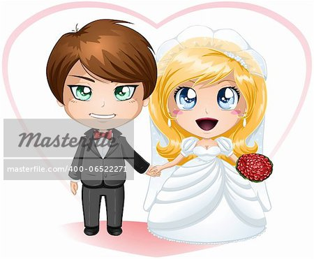 A vector illustration of a bride and groom dressed for their wedding day. Stock Photo - Budget Royalty-Free, Image code: 400-06522271