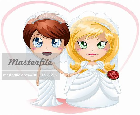 A vector illustration of lesbians dressed for their wedding day. Stock Photo - Budget Royalty-Free, Image code: 400-06522273