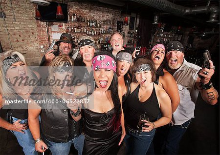Loud motorcycle gang members with weapons and drinks Stock Photo - Budget Royalty-Free, Image code: 400-06522837