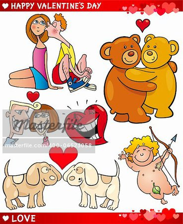 Cartoon Illustration of Cute Valentines Day and Love Themes Collection Set Stock Photo - Budget Royalty-Free, Image code: 400-06523058