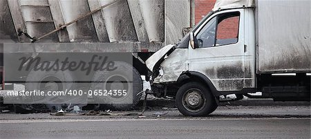 collision of the truck and car Stock Photo - Budget Royalty-Free, Image code: 400-06524355