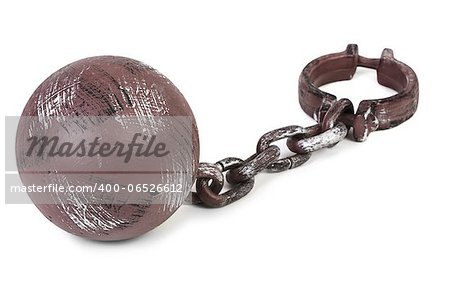 ball and chain on white background Stock Photo - Budget Royalty-Free, Image code: 400-06526612