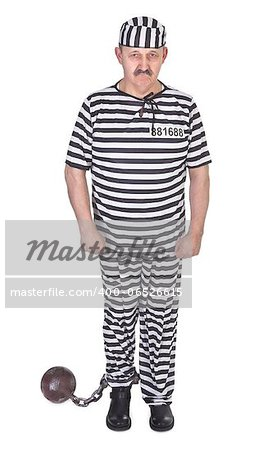 sad prisoner with ball and chain on white background Stock Photo - Budget Royalty-Free, Image code: 400-06526615