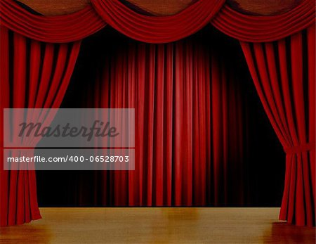 Red curtain on stage Stock Photo - Budget Royalty-Free, Image code: 400-06528703