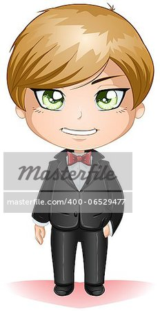 A vector illustration of a groon dressed in black suit for his wedding day. Stock Photo - Budget Royalty-Free, Image code: 400-06529477