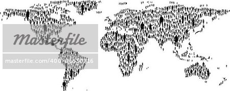 The map of the world made of plenty people silhouettes Stock Photo - Budget Royalty-Free, Image code: 400-06530716