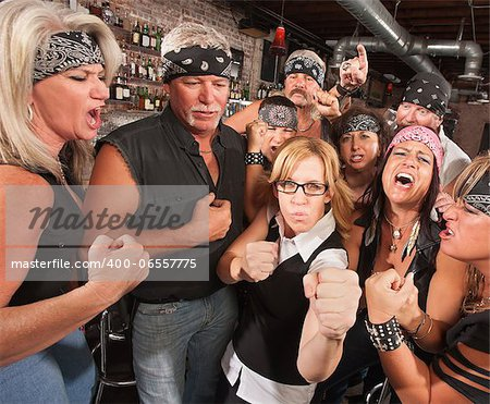 Motorcycle gang and female nerd holding up fists in bar Stock Photo - Budget Royalty-Free, Image code: 400-06557775