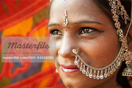 Close up face of Traditional Indian woman in sari costume, India Stock Photo - Budget Royalty-Free, Image code: 400-06558385