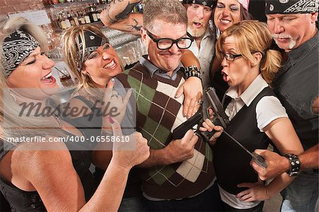 Nerds and motorcycle gang comparing weapon sizes in bar Stock Photo - Budget Royalty-Free, Image code: 400-06558610