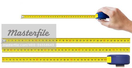 human hand with tape-measure and set of pieces allowing to make any size of tape up to one meter Stock Photo - Budget Royalty-Free, Image code: 400-06558643