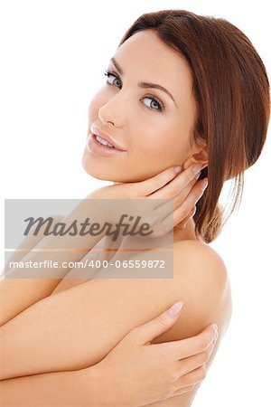 Alluring beautiful woman posing topless with her arms concealing her breasts isolated on white Stock Photo - Budget Royalty-Free, Image code: 400-06559872