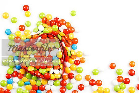 Multicolor candies in heart shape candy box on white background Stock Photo - Budget Royalty-Free, Image code: 400-06560575