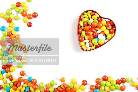 Multicolor candies in heart shape candy box on white background Stock Photo - Budget Royalty-Free, Image code: 400-06560576