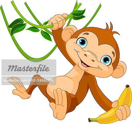 Cute baby monkey on a tree holding banana Stock Photo - Budget Royalty-Free, Image code: 400-06561878
