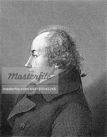 Franz Joseph Gall (1758-1828) on engraving from 1859. German  neuroanatomist and physiologist, pioneer in the study of the localization of mental functions in the brain.Engraved by unknown artist and published in Meyers Konversations-Lexikon, Germany,1859. Stock Photo - Budget Royalty-Free, Image code: 400-06565265