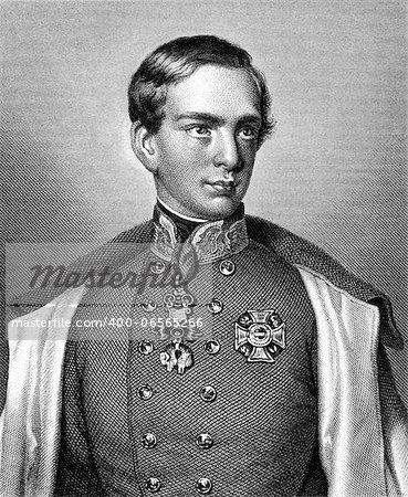 Franz Joseph I of Austria (1830-1916) on engraving from 1859. Emperor of Austria. Engraved by unknown artist and published in Meyers Konversations-Lexikon, Germany,1859. Stock Photo - Budget Royalty-Free, Image code: 400-06565266
