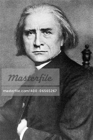"Franz Liszt (1811-1886) on engraving from 1908. Hungarian composer, pianist, conductor and teacher. Engraved by unknown artist and published in ""The world's best music, famous compositions for the piano. Volume 2"", by The University Society, New York,1908. Stock Photo - Budget Royalty-Free, Image code: 400-06565267"