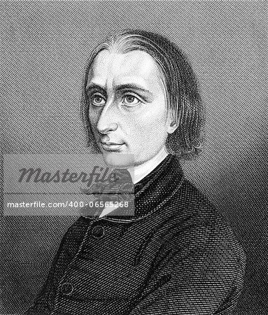 Franz Liszt (1811-1886) on engraving from 1859. Hungarian composer, pianist, conductor and teacher. Engraved by unknown artist and published in Meyers Konversations-Lexikon, Germany,1859. Stock Photo - Budget Royalty-Free, Image code: 400-06565268