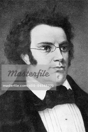 "Franz Schubert (1797-1828) on engraving from 1908. Austrian composer. Engraved by unknown artist and published in ""The world's best music, famous songs. Volume 6"", by The University Society, New York,1908. Stock Photo - Budget Royalty-Free, Image code: 400-06565270"