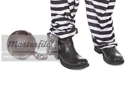Close-up of prisoners' legs on white background Stock Photo - Budget Royalty-Free, Image code: 400-06565779