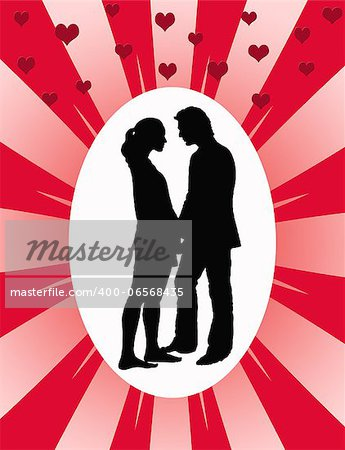 Love couple silhouette on sunburst background Stock Photo - Budget Royalty-Free, Image code: 400-06568435