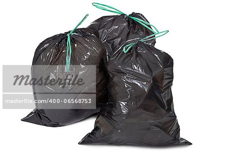 three garbage bags on white background Stock Photo - Budget Royalty-Free, Image code: 400-06568753
