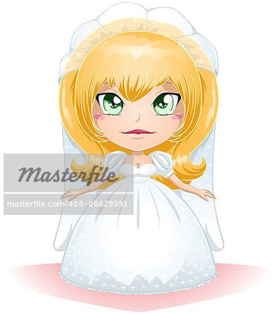 A vector illustration of a bride dressed for her wedding day. Stock Photo - Budget Royalty-Free, Image code: 400-06629391