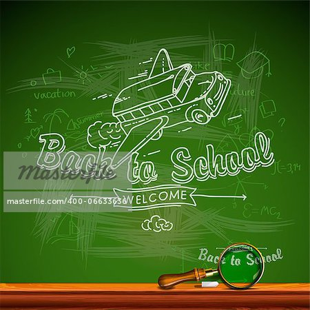 Back to school, chalkwriting on blackboard, vector Eps10 image. Stock Photo - Budget Royalty-Free, Image code: 400-06633636