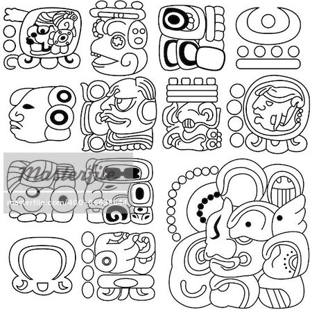 Vector image of ancient Mayan hieroglyphs on white Stock Photo - Budget Royalty-Free, Image code: 400-06638644