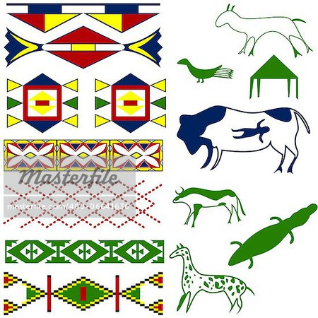 Vector image of ancient American pattern with animals on white Stock Photo - Budget Royalty-Free, Image code: 400-06641636