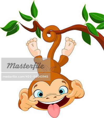 Cute baby monkey hamming on a tree. Stock Photo - Budget Royalty-Free, Image code: 400-06643945