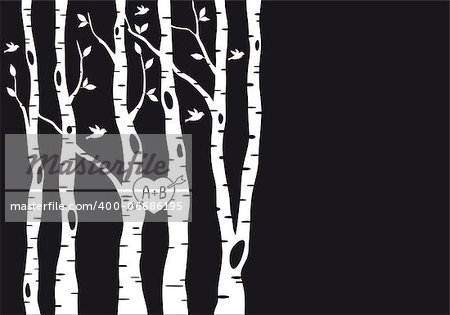 wedding invitation template with birch trees, birds and heart, vector