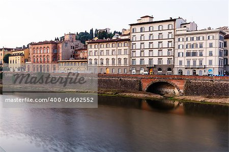 Arno River Embankment in the Early Morning Light, Florence, Italy Stock Photo - Budget Royalty-Free, Image code: 400-06692552