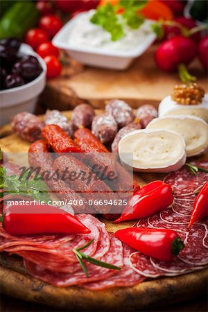 Catering platter with antipasti and fingerfood Stock Photo - Budget Royalty-Free, Image code: 400-06694625