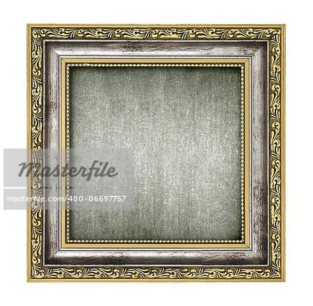 silver and gold frame with canvas interior isolated on white Stock Photo - Budget Royalty-Free, Image code: 400-06697757