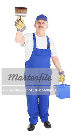 house painter with bucket and paintbrush on white background Stock Photo - Budget Royalty-Free, Image code: 400-06698481