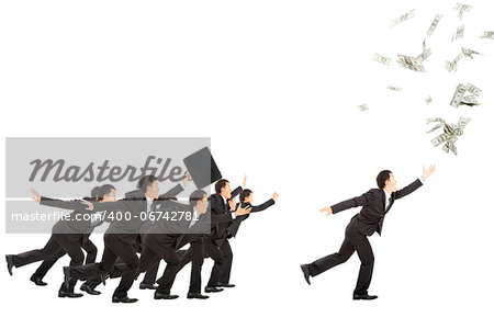 excited businessman running to the money Stock Photo - Budget Royalty-Free, Image code: 400-06742781
