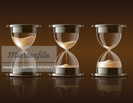 Sand falling in the hourglass in three different states on dark background. Vector illustration Stock Photo - Budget Royalty-Free, Image code: 400-06743611