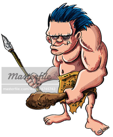 Cartoon vector illustration of a stooped muscular caveman or troglodyte in an animal skin loincloth brandishing a wooden cudgel and stone tipped spear isolated on white Stock Photo - Budget Royalty-Free, Image code: 400-06745742