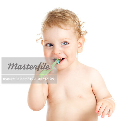 Happy baby child brushing teeth Stock Photo - Budget Royalty-Free, Image code: 400-06747109