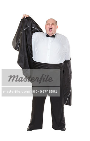 Very overweight elegant fat man yawning after a night out as he strips off his dinner jacket, studio portrait on white Stock Photo - Budget Royalty-Free, Image code: 400-06748591