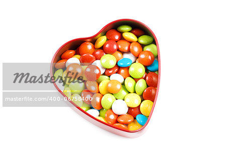 Multicolor candies in heart shape candy box on white background Stock Photo - Budget Royalty-Free, Image code: 400-06758400