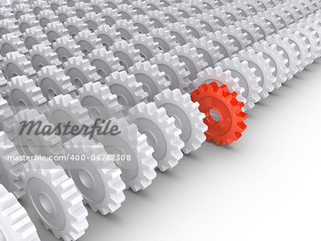 3d cogwheels in rows and one in front Stock Photo - Budget Royalty-Free, Image code: 400-06762308