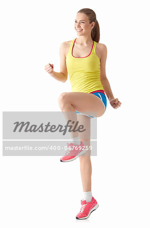 Young sports girl on white background Stock Photo - Budget Royalty-Free, Image code: 400-06769259