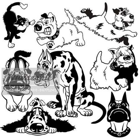 set with cartoon dogs difference breeds, black and white vector pictures Stock Photo - Budget Royalty-Free, Image code: 400-06771241