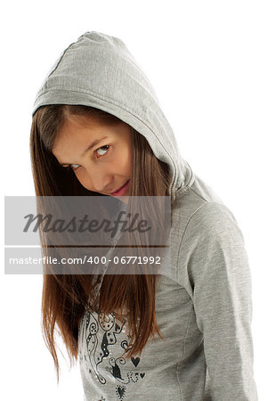 Girl Teen with Long Brown Hair in Casual Gray Hooded Sweatshirt on white background Stock Photo - Budget Royalty-Free, Image code: 400-06771992