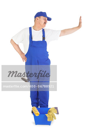house painter leaning against invisible wall over white background Stock Photo - Budget Royalty-Free, Image code: 400-06788921