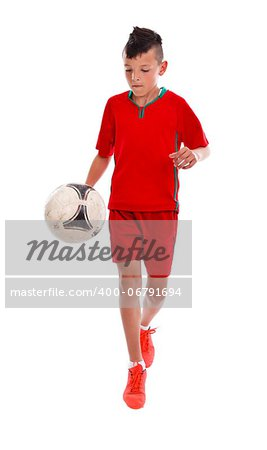 Young soccer playing with ball over white background Stock Photo - Budget Royalty-Free, Image code: 400-06791694